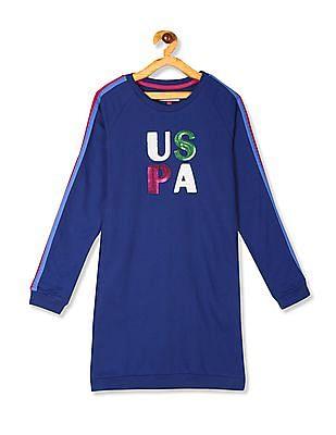 U.S. Polo Assn. Kids Blue Girls Brand Embellished Sweatshirt Dress