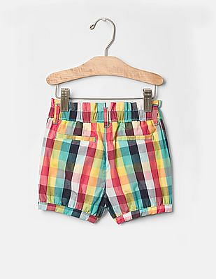 GAP Toddler Girl Multi Colour Plaid Bubble Shorts