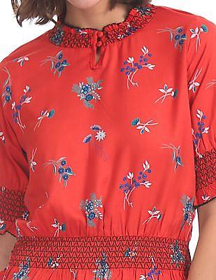 SUGR Floral Print Blouson Top