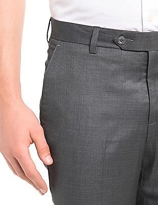 True Blue Solid Slim Fit Trousers