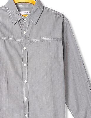 Flying Machine Vertical Stripe Panelled Shirt