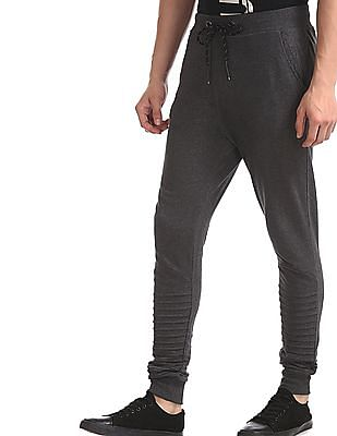 Flying Machine Grey Tucked Hem Knit Joggers
