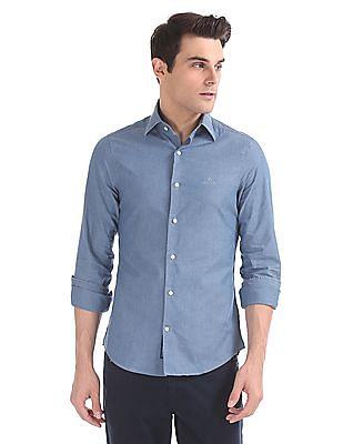 Gant Tech Prep Indigo Solid Slim Point Shirt