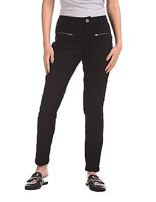 Cherokee Zip Pocket Solid Trousers