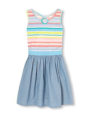 The Children's Place Girls Sleeveless Striped And Knit To Woven Chambray Cut Out Dress