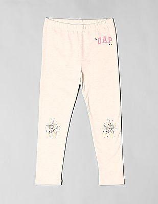 GAP Beige Toddler Girl Logo Leggings In Stretch Jersey
