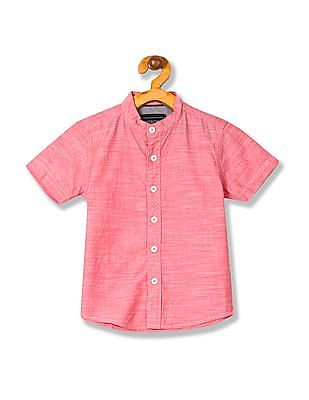 Cherokee Boys Mandarin Collar Short Sleeve Shirt