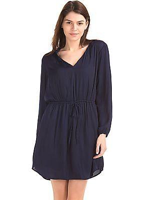 GAP Women Blue Silky Split Neck Dress