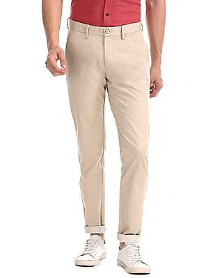 U.S. Polo Assn. Beige Austin Trim Regular Fit Printed Trousers