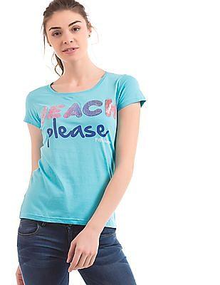 Flying Machine Women Embellished Regular Fit T-Shirt