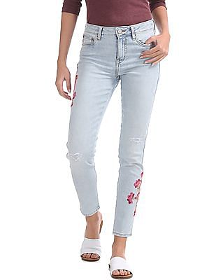 Aeropostale Mid Rise Embroidered Boyfriend Jeans