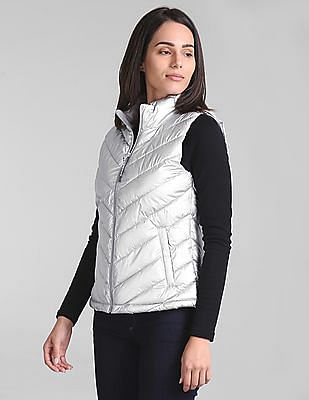 GAP Women Silver ColdControl Lite Quilted Puffer Vest
