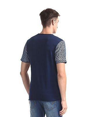 Cherokee Blue Printed Sleeve Crew Neck T-Shirt