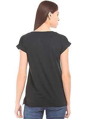 Flying Machine Women Heathered Front Cotton T-Shirt