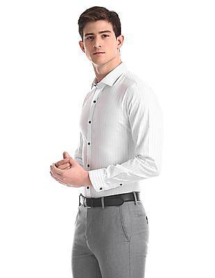 Arrow Newyork White Snug Skinny Fit Striped Shirt
