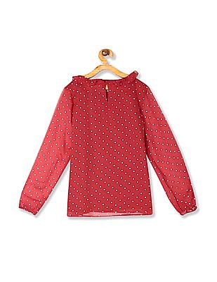 U.S. Polo Assn. Kids Red Girls Ruffled Neck Polka Dot Print Top