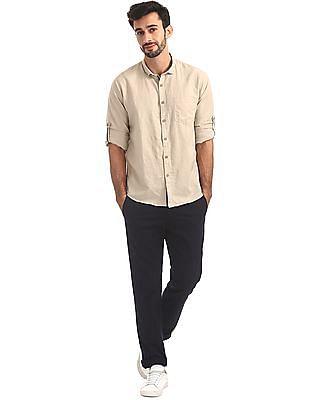 Cherokee Solid Cotton Linen Shirt