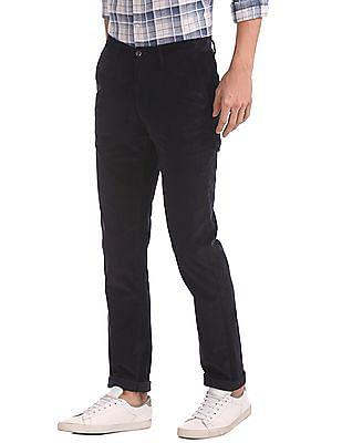 Arrow Sports Slim Fit Flat Front Corduroy Trousers