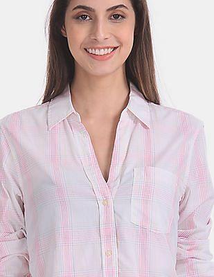 GAP White Fitted Boyfriend Check Shirt