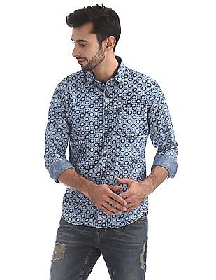 Ed Hardy Slim Fit Washed Denim Printed Shirt