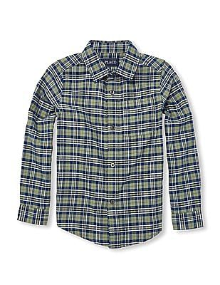 The Children's Place Boys Long Roll-Up Sleeve Plaid Oxford Button-Down Shirt