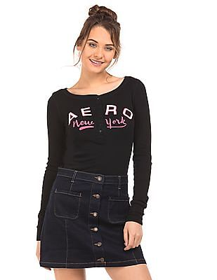Aeropostale Brand Applique Regular Fit Henley T-Shirt
