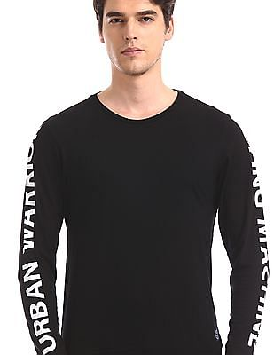 Flying Machine Black Printed Sleeve Crew Neck t-Shirt