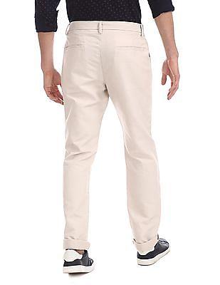 Ruggers Beige Urban Slim Fit Solid Trousers