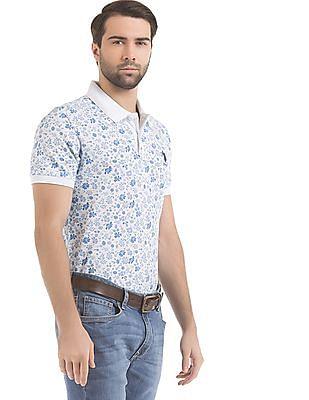 U.S. Polo Assn. Slim Fit Floral Print Polo Shirt