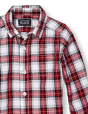 The Children's Place Toddler Boy White Long Sleeve Plaid Poplin Button-Down Shirt