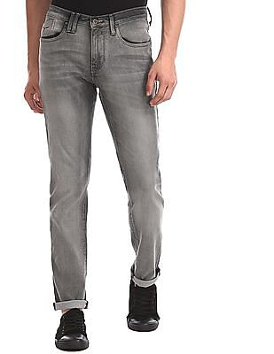 Flying Machine Grey Michael Slim Tapered Fit Whiskered Jeans