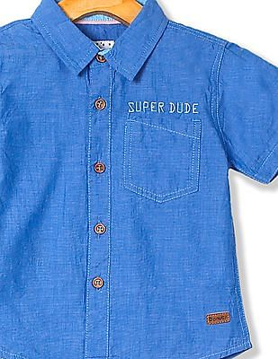 Donuts Boys Patterned Weave Short Sleeve Shirt