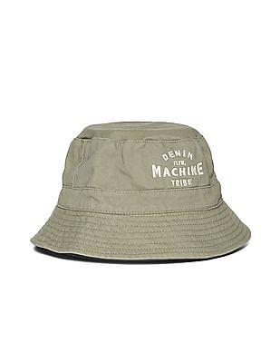 Flying Machine Appliqued Cotton Twill Bucket Hat