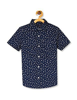 The Children's Place Boys Short Sleeve Paper Clip Print Poplin Button-Down Shirt