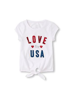 The Children's Place Girls Short Sleeve Patriotic Embellished Tie-Front Top