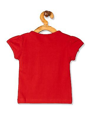 Donuts Red Girls Printed Cotton T-Shirt