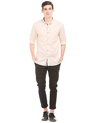 Cherokee Solid Cotton Linen Shirt