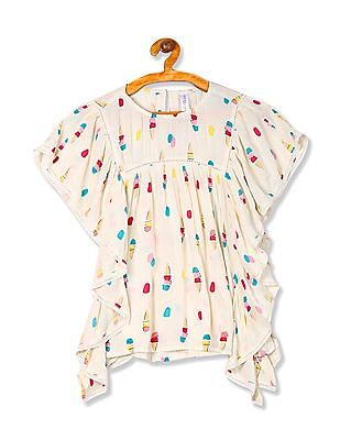 U.S. Polo Assn. Kids Girls Printed Crinkled Top