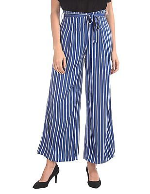 U.S. Polo Assn. Women Regular Fit Striped Trousers