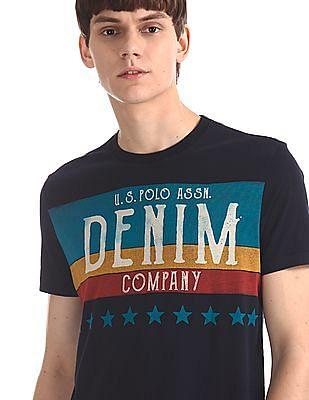 U.S. Polo Assn. Denim Co. Blue Regular Fit Printed T-Shirt