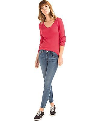 GAP Women Pink Ribbed Scoop Pullover