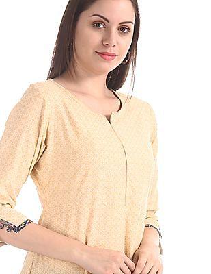 Anahi Beige Flared Kurta With Buttoned Shrug
