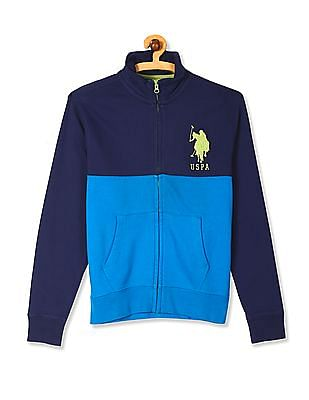 U.S. Polo Assn. Blue Cut And Sew Panel Zip Up Sweatshirt