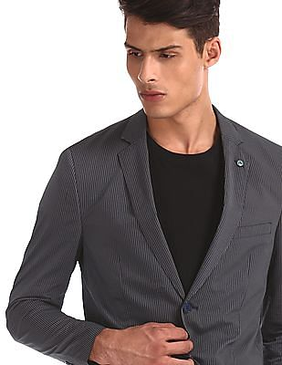 Arrow Newyork Grey And Navy Single Breasted Striped Blazer
