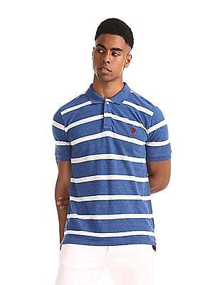 U.S. Polo Assn. Blue Slim Fit Striped Polo Shirt