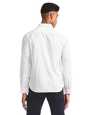 Flying Machine White Printed Slim Fit Shirt
