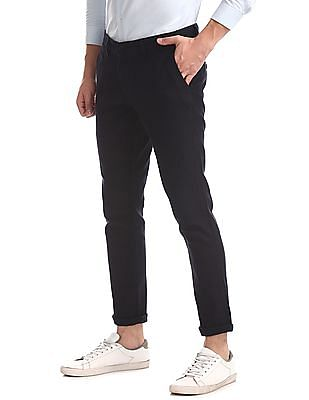 Ruggers Blue Tapered Fit Patterned Trousers