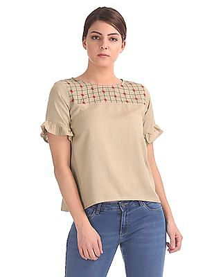 Bronz Embroidered Panel Boxy Top