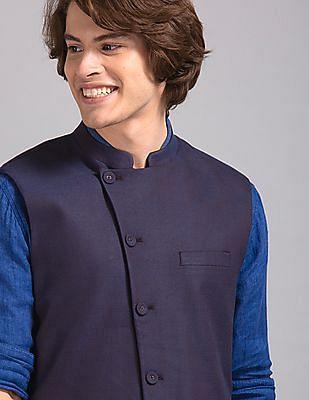 True Blue Purple Slim Fit Patterned Bandi