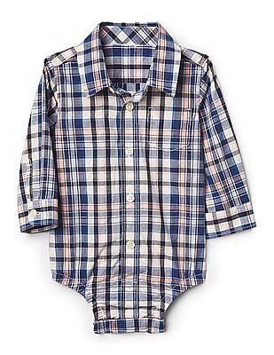 GAP Baby Plaid Button Up Bodysuit In Poplin